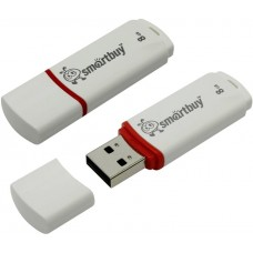 Флешка USB 2.0, Smart Buy 8Gb Crown белый
