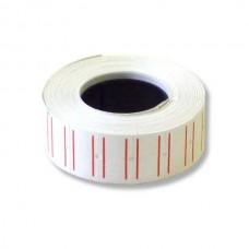Этикет-лента 21,5х12 /1000/ прямоугольная, белая с красной полосой